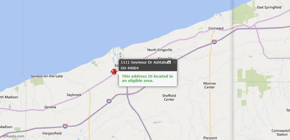 USDA Loan Eligiblity Map - 1111 Seymour Dr, Ashtabula, OH 44004