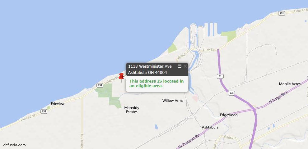 USDA Loan Eligiblity Map - 1113 Westminister Ave, Ashtabula, OH 44004