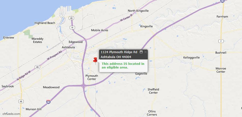 USDA Loan Eligiblity Map - 1124 Plymouth Ridge Rd, Ashtabula, OH 44004