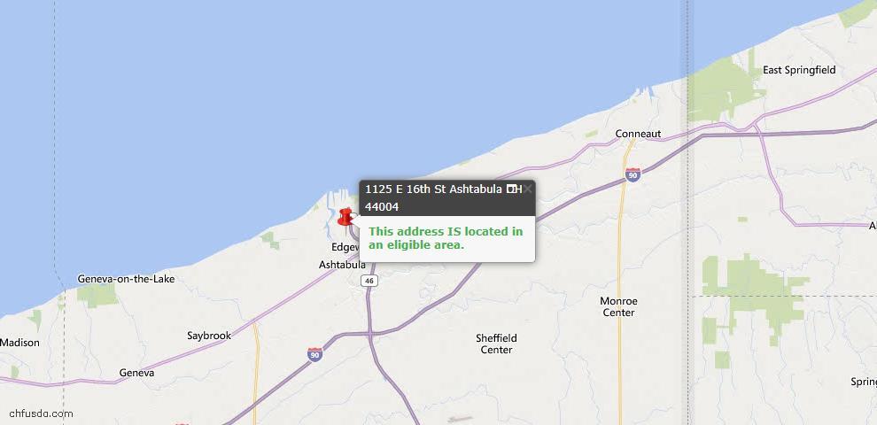 USDA Loan Eligiblity Map - 1125 E 16th St, Ashtabula, OH 44004
