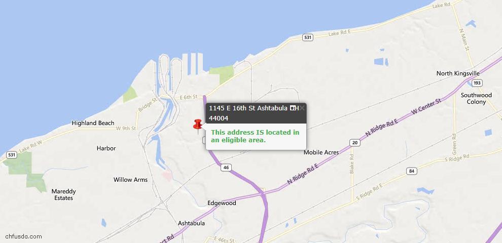 USDA Loan Eligiblity Map - 1145 E 16th St, Ashtabula, OH 44004
