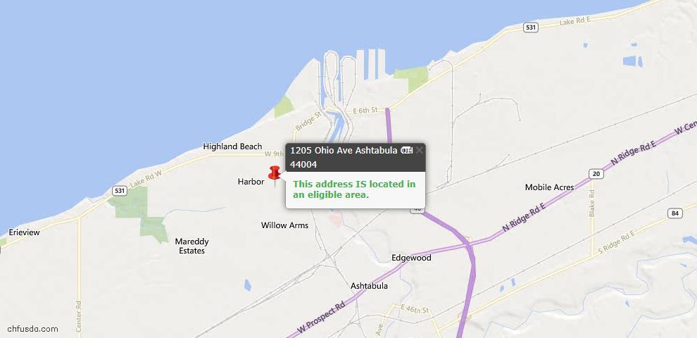 USDA Loan Eligiblity Map - 1205 Ohio Ave, Ashtabula, OH 44004