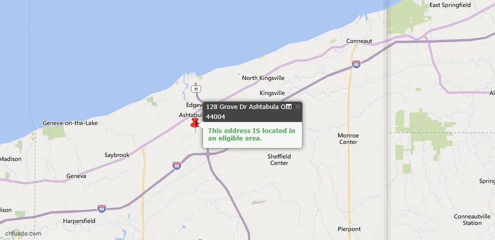 USDA Loan Eligiblity Map - 128 Grove Dr, Ashtabula, OH 44004