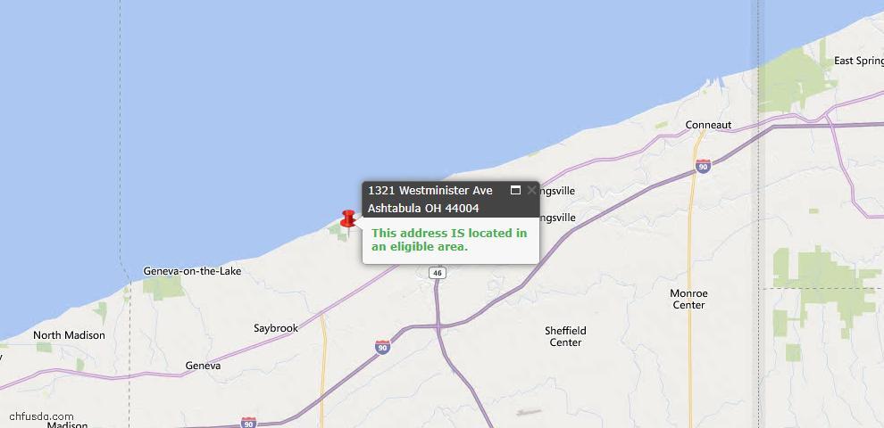 USDA Loan Eligiblity Map - 1321 Westminister Ave, Ashtabula, OH 44004