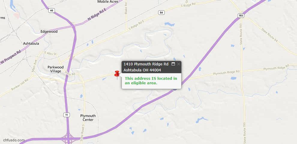 USDA Loan Eligiblity Map - 1410 Plymouth Ridge Rd, Ashtabula, OH 44004