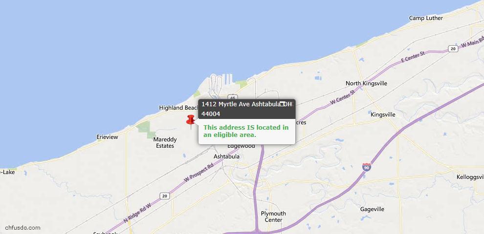 USDA Loan Eligiblity Map - 1412 Myrtle Ave, Ashtabula, OH 44004
