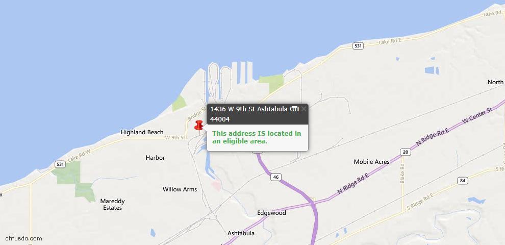 USDA Loan Eligiblity Map - 1436 W 9th St, Ashtabula, OH 44004