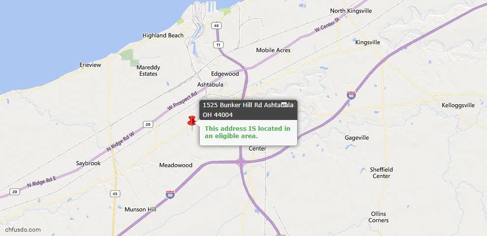 USDA Loan Eligiblity Map - 1525 Bunker Hill Rd, Ashtabula, OH 44004