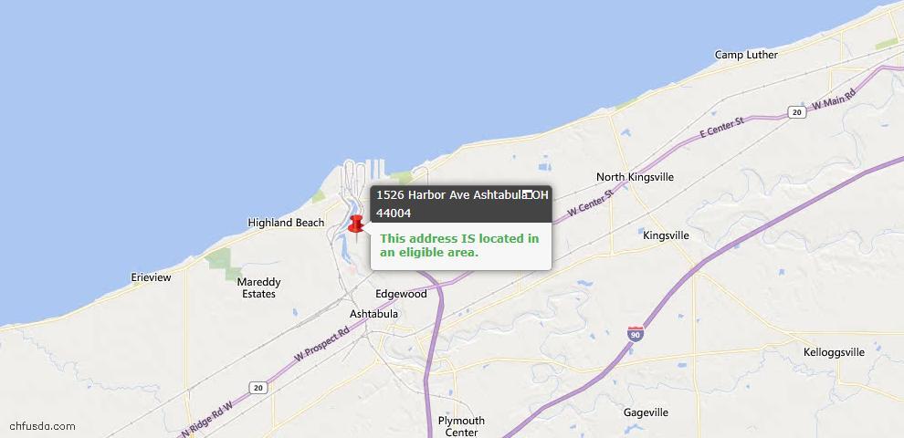 USDA Loan Eligiblity Map - 1526 Harbor Ave, Ashtabula, OH 44004