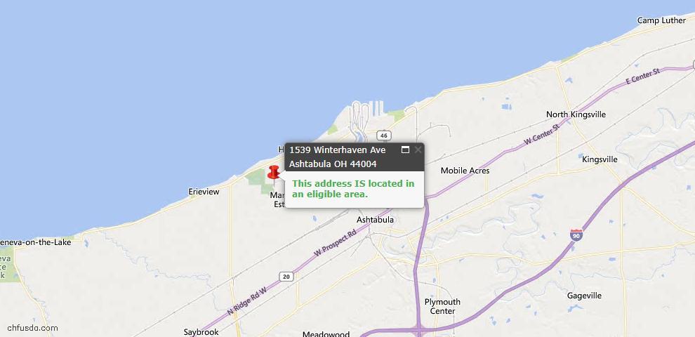 USDA Loan Eligiblity Map - 1539 Winterhaven Ave, Ashtabula, OH 44004