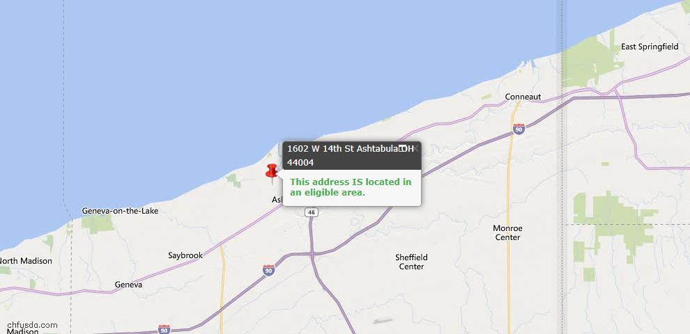 USDA Loan Eligiblity Map - 1602 W 14th St, Ashtabula, OH 44004