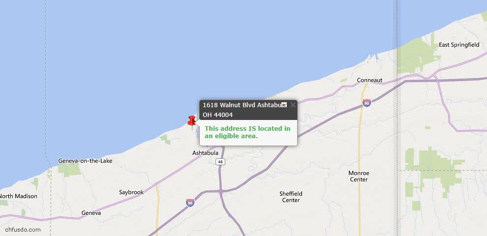 USDA Loan Eligiblity Map - 1618 Walnut Blvd, Ashtabula, OH 44004