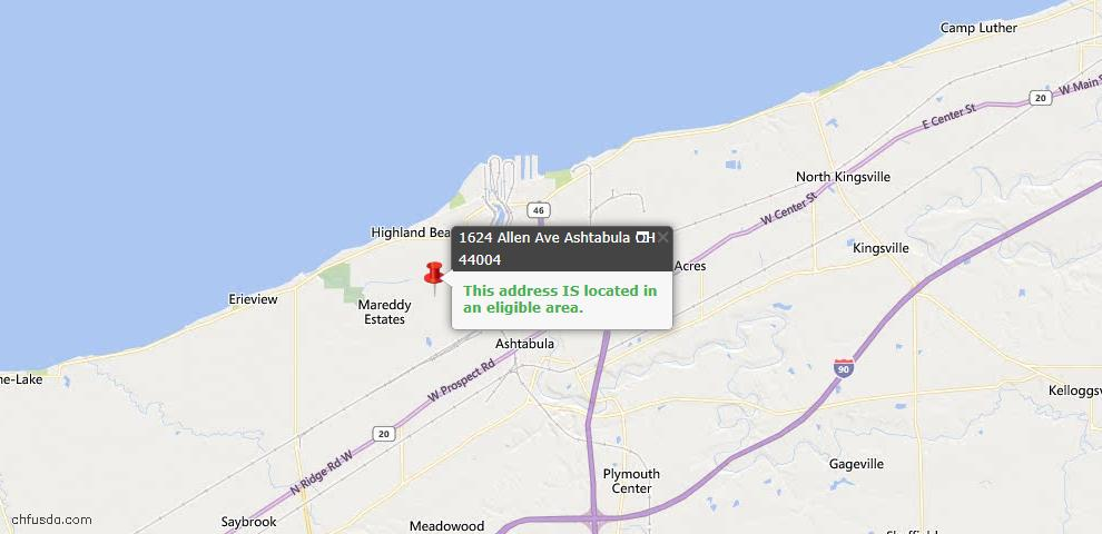 USDA Loan Eligiblity Map - 1624 Allen Ave, Ashtabula, OH 44004