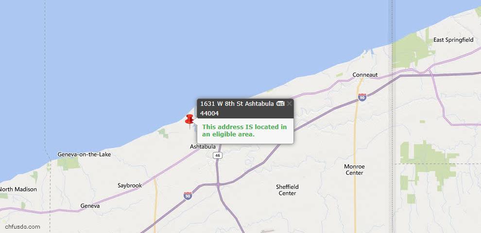 USDA Loan Eligiblity Map - 1631 W 8th St, Ashtabula, OH 44004