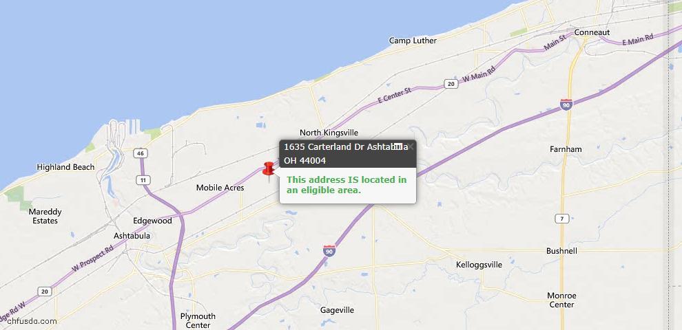 USDA Loan Eligiblity Map - 1635 Carterland Dr, Ashtabula, OH 44004