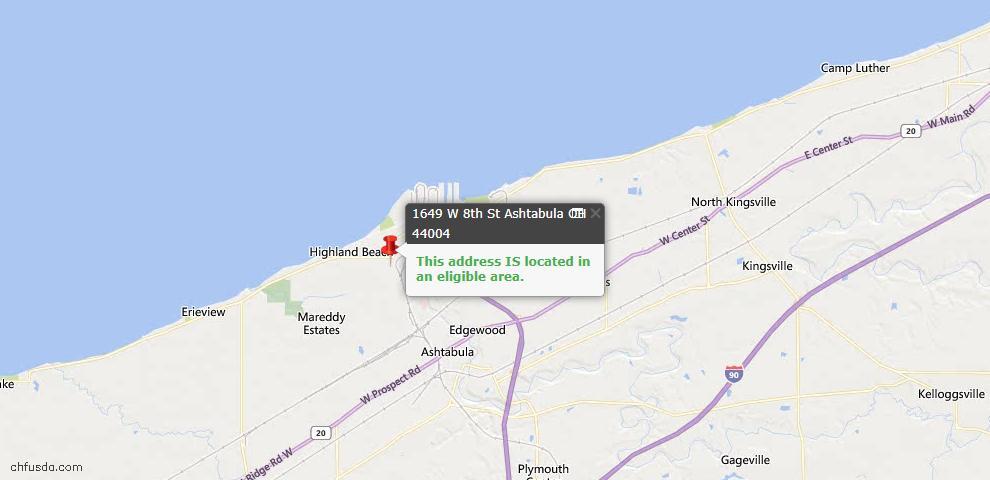 USDA Loan Eligiblity Map - 1649 W 8th St, Ashtabula, OH 44004