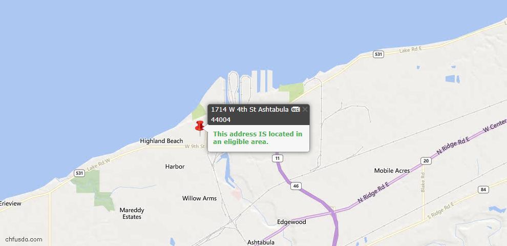 USDA Loan Eligiblity Map - 1714 W 4th St, Ashtabula, OH 44004