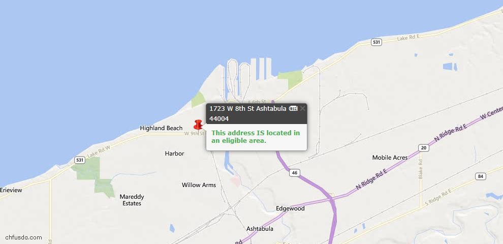 USDA Loan Eligiblity Map - 1723 W 8th St, Ashtabula, OH 44004