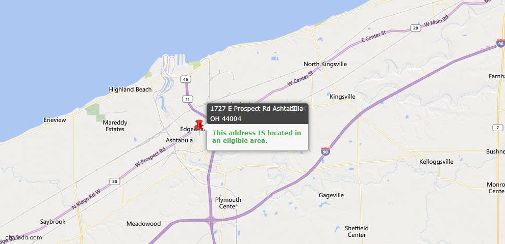 USDA Loan Eligiblity Map - 1727 E Prospect, Ashtabula, OH 44004