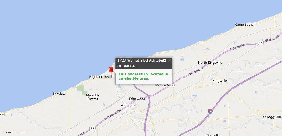 USDA Loan Eligiblity Map - 1727 Walnut Blvd, Ashtabula, OH 44004