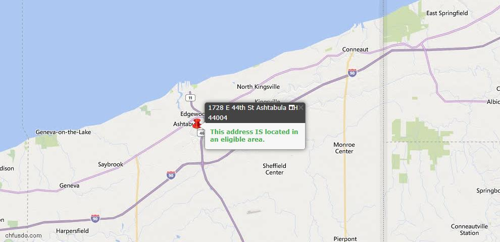 USDA Loan Eligiblity Map - 1728 E 44th St, Ashtabula, OH 44004