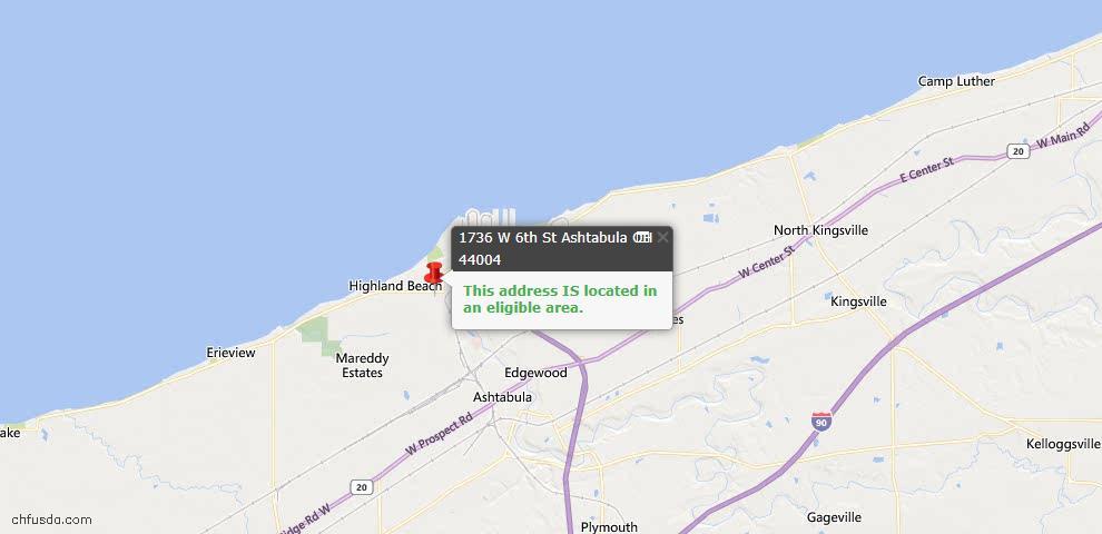 USDA Loan Eligiblity Map - 1736 W 6th St, Ashtabula, OH 44004