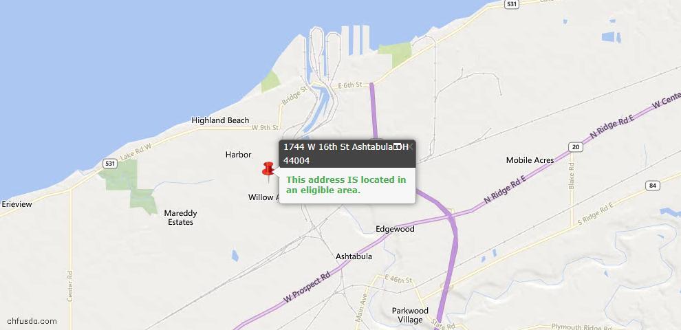 USDA Loan Eligiblity Map - 1744 W 16th St, Ashtabula, OH 44004