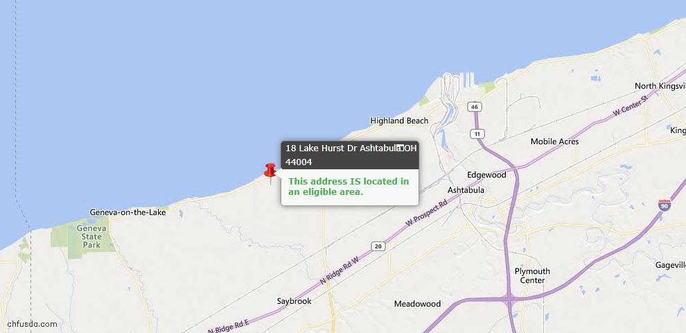 USDA Loan Eligiblity Map - 18 Lake Hurst Dr, Ashtabula, OH 44004