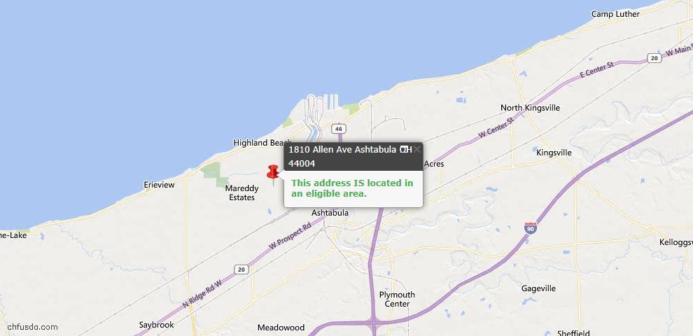 USDA Loan Eligiblity Map - 1810 Allen Ave, Ashtabula, OH 44004