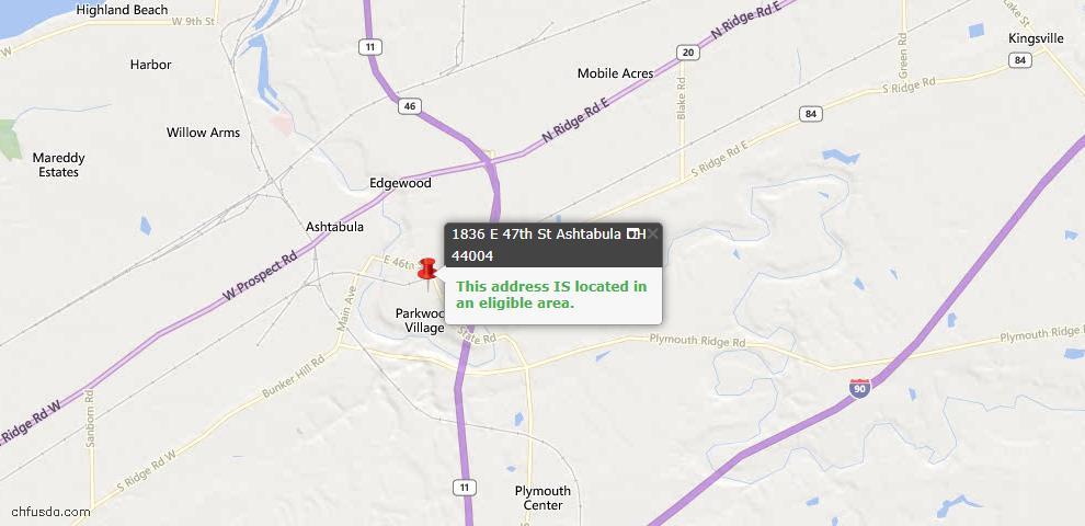 USDA Loan Eligiblity Map - 1836 E 47th St, Ashtabula, OH 44004