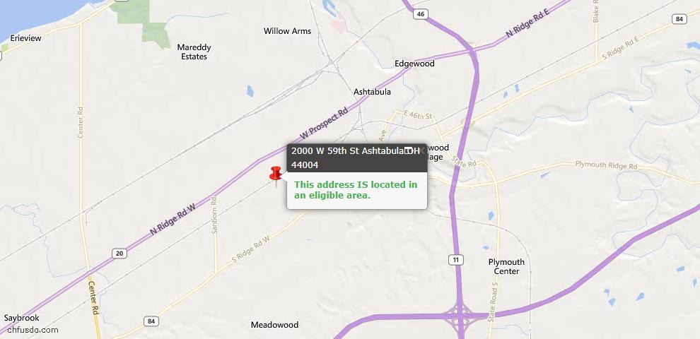 USDA Loan Eligiblity Map - 2000 W 59th St, Ashtabula, OH 44004