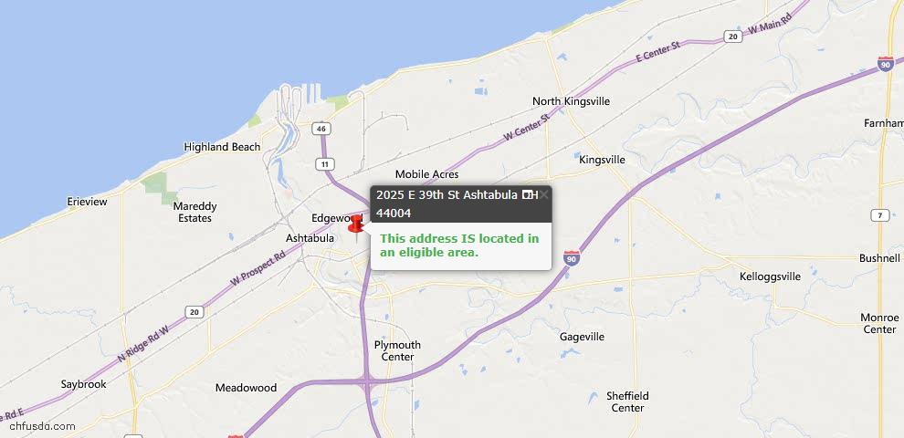 USDA Loan Eligiblity Map - 2025 E 39th St, Ashtabula, OH 44004
