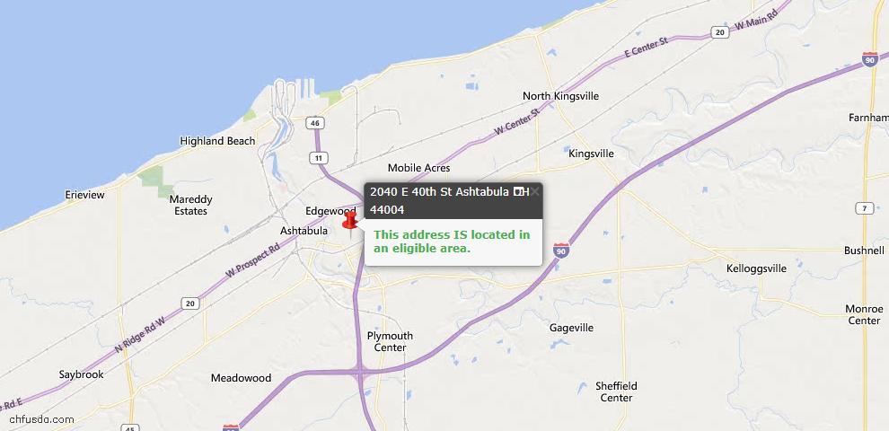 USDA Loan Eligiblity Map - 2040 E 40th St, Ashtabula, OH 44004
