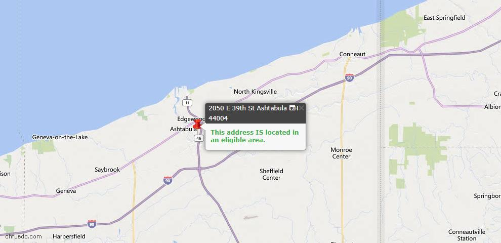 USDA Loan Eligiblity Map - 2050 E 39th St, Ashtabula, OH 44004