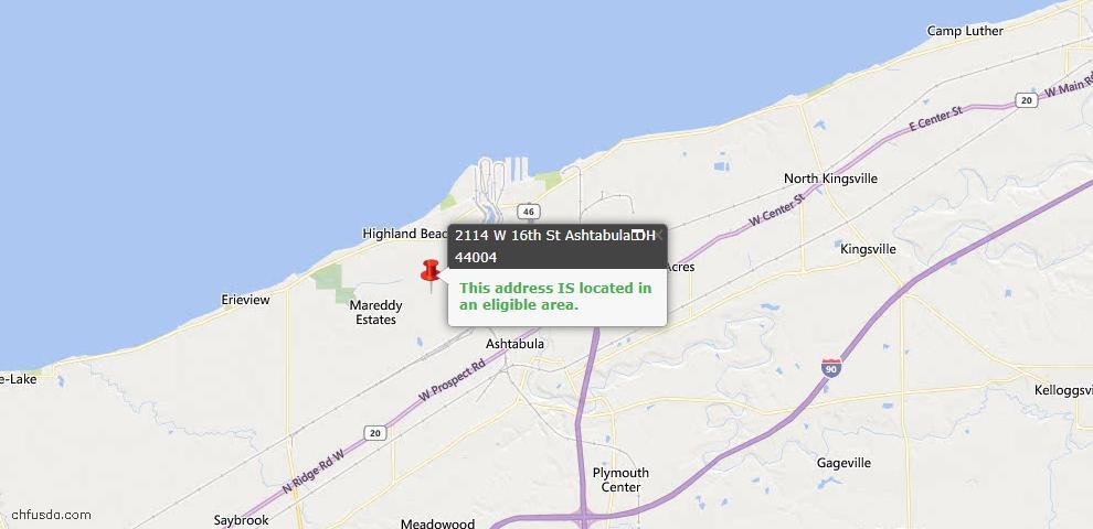 USDA Loan Eligiblity Map - 2114 W 16th St, Ashtabula, OH 44004