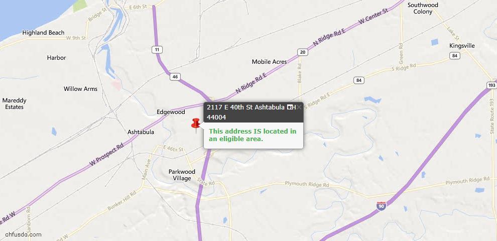 USDA Loan Eligiblity Maps From - Ashtabula, OH