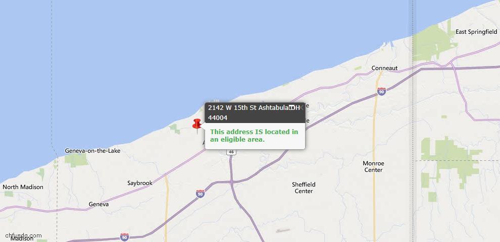 USDA Loan Eligiblity Map - 2142 W 15th St, Ashtabula, OH 44004
