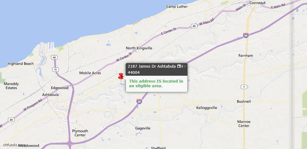 USDA Loan Eligiblity Map - 2187 James St, Ashtabula, OH 44004