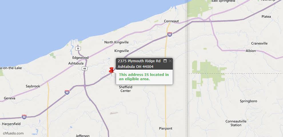 USDA Loan Eligiblity Map - 2375 Plymouth Ridge Rd, Ashtabula, OH 44004