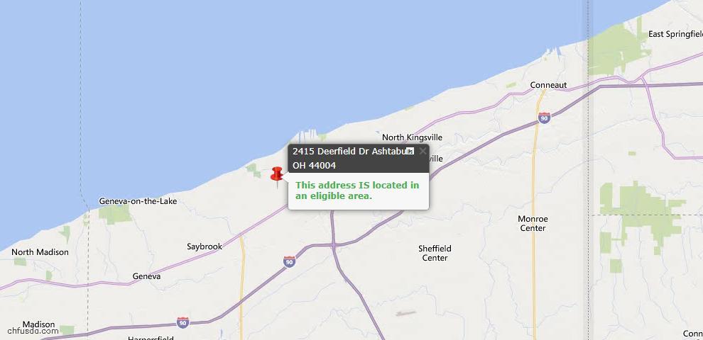 USDA Loan Eligiblity Map - 2415 Deerfield Dr, Ashtabula, OH 44004