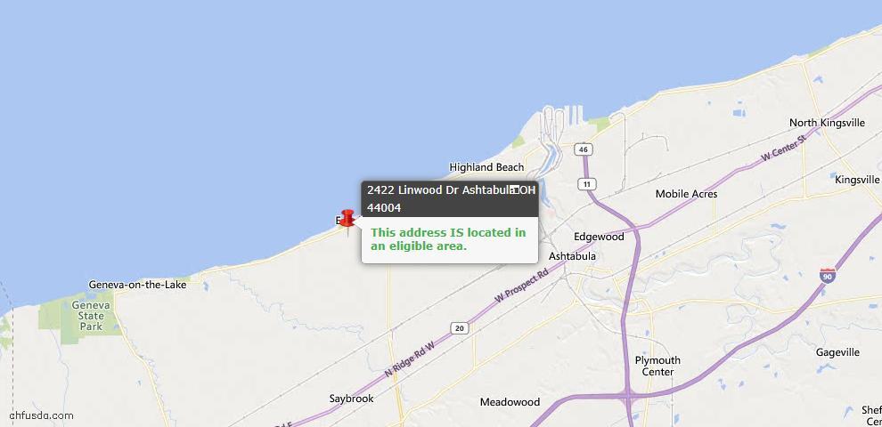 USDA Loan Eligiblity Map - 2422 Linwood Dr, Ashtabula, OH 44004