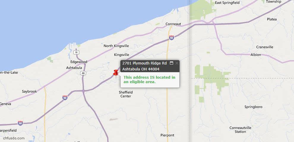 USDA Loan Eligiblity Map - 2701 Plymouth Ridge Rd, Ashtabula, OH 44004