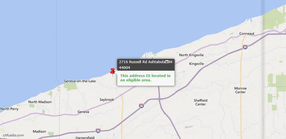 USDA Loan Eligiblity Map - 2716 Russell Rd, Ashtabula, OH 44004