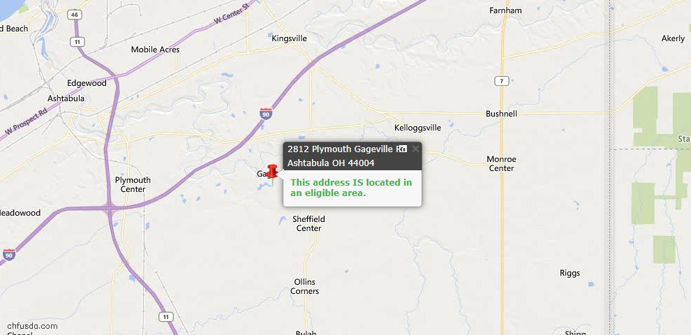 USDA Loan Eligiblity Map - 2812 Plymouth Gageville Rd, Ashtabula, OH 44004