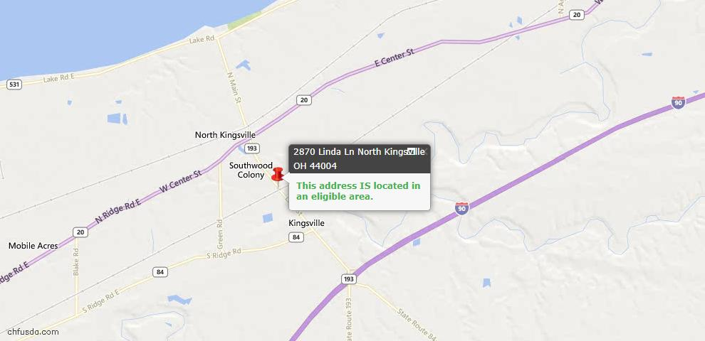 USDA Loan Eligiblity Maps From - North Kingsville, OH