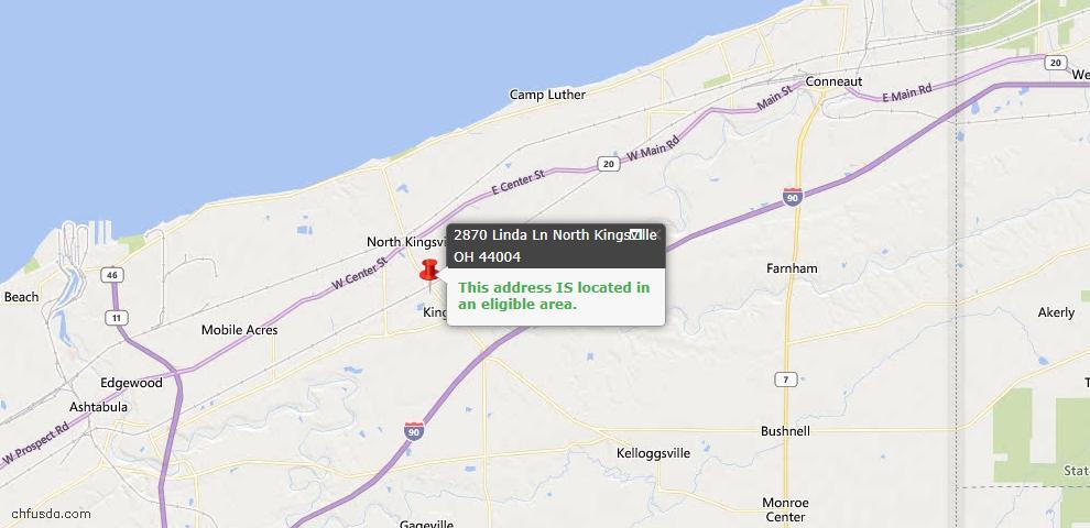 USDA Loan Eligiblity Map - 2870 Linda Ln, North Kingsville, OH 44004