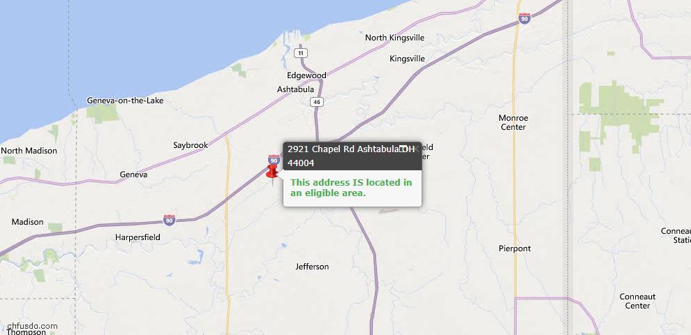 USDA Loan Eligiblity Map - 2921 Chapel Rd, Ashtabula, OH 44004