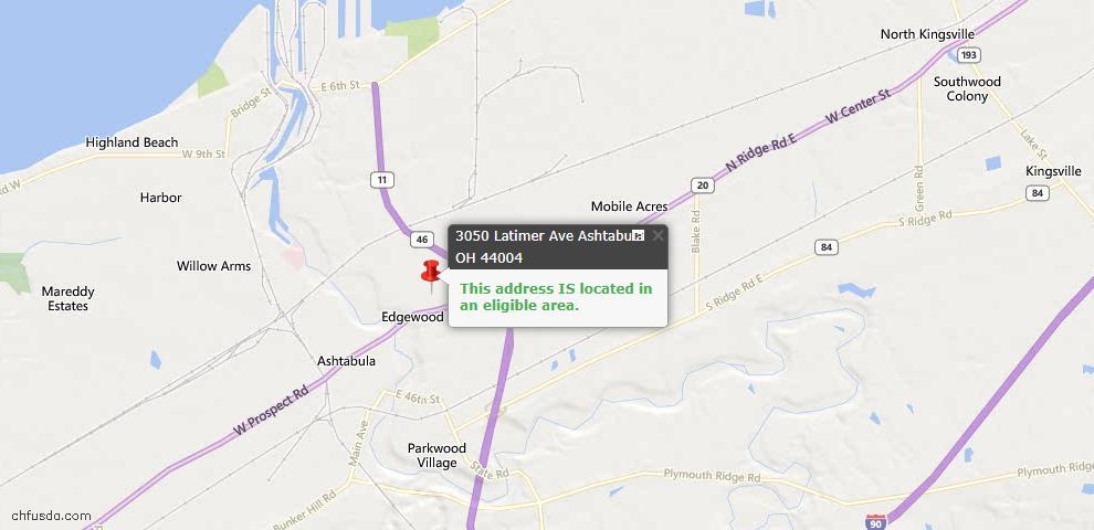 USDA Loan Eligiblity Map - 3050 Latimer Ave, Ashtabula, OH 44004