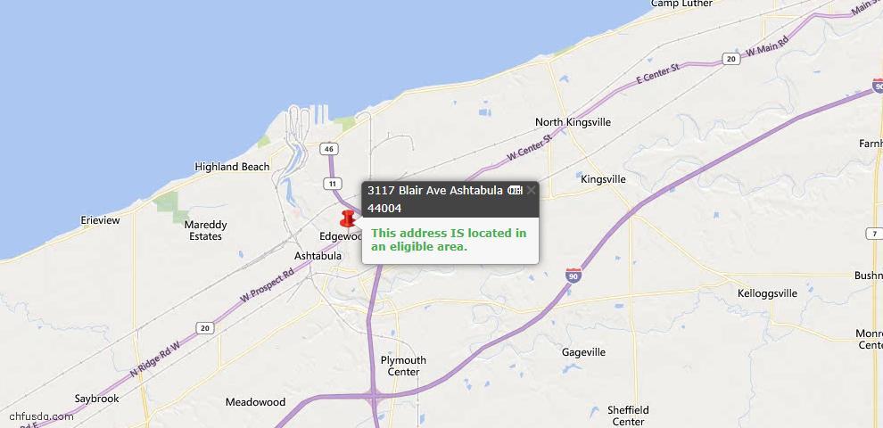USDA Loan Eligiblity Map - 3117 Blair Ave, Ashtabula, OH 44004
