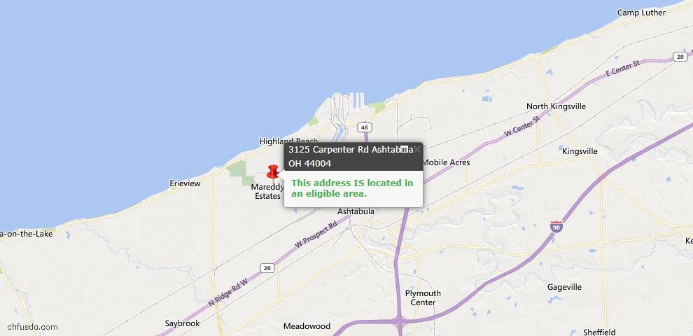 USDA Loan Eligiblity Map - 3125 Carpenter Rd, Ashtabula, OH 44004